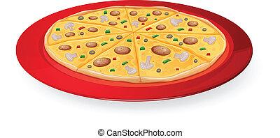plat, rouges, pizza