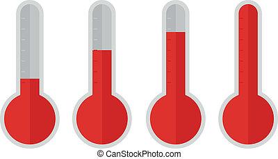 plat, rouges, thermomètre