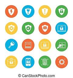 plat, sécurité, ensemble, icônes