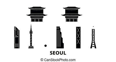 plat, séoul, illustration, voyage, landmarks., symbole, horizon, vecteur, noir, vues, corée, ville, sud, set.