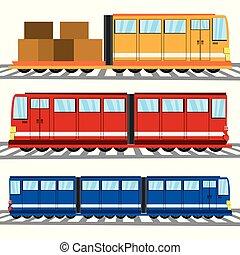 plat, série train, icône, transport