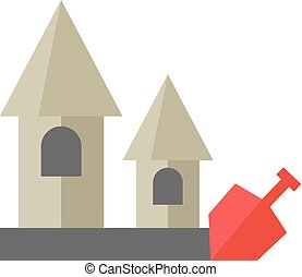 plat, sable, -, château, icône