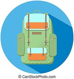 plat, sac à dos, vecteur, vert, illustration