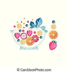plat, salade, mûre, ingredients., sain, résumé, bol, texture, berries., vecteur, délicieux, fruits, organique, icône