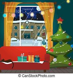 plat, salle, cadeau, neigeux, decoration., illustration, arbre noël, vecteur, interior., rue., nuit, dessin animé, vue