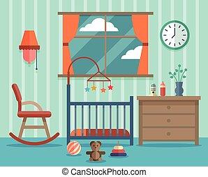 plat, salle, nouveau né, vecteur, conception, enfant, baby.