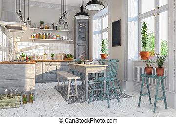 plat, salle, render, -, scandinave, dîner, cuisine, 3d