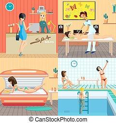 plat, salon, concept, beauté, solarium, style, illustration, masage, banners., vecteur, studio, sauna., intérieur, spa, réception, dessin animé, femmes