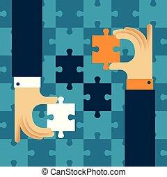 plat, salutaire, concept, puzzle, puzzle, style, mutually, vecteur, coopération