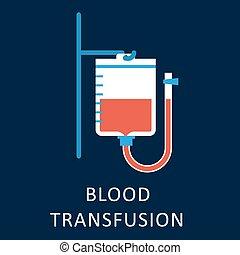 plat, sanguine, icône, sac, transfusion
