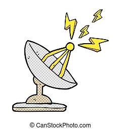 plat, satellite, dessin animé