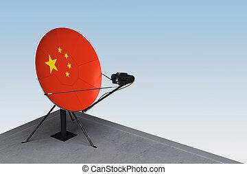 plat, satellite, drapeau chine