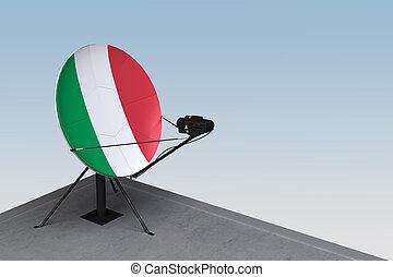 plat, satellite, drapeau italie