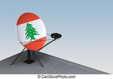 plat, satellite, drapeau liban