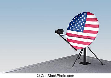 plat, satellite, drapeau, usa