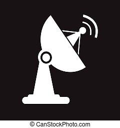plat, satellite, icône