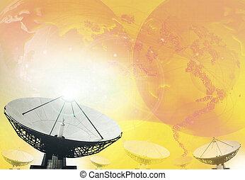 plat, satellite, radiodiffusion, technologie, fond