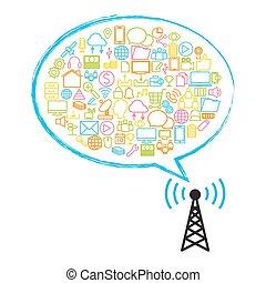 plat, satellite, technologie, antenne