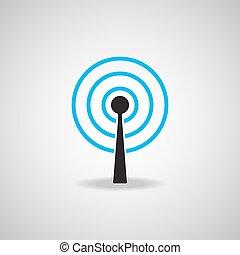 plat, satellite, technologie, antenne, icône