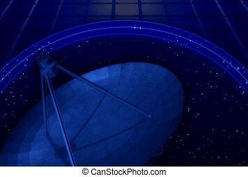 plat, satellite, technologie, espace