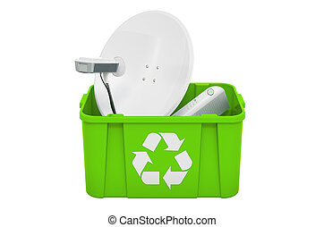plat, satellite, trashcan, 3d, rendre, recyclage