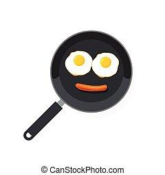 plat, saucisse, nourriture, oeufs, style, brouillé, vecteur, oeuf, casserole omelette, sourire, sourire, frit, dessin animé, omelette