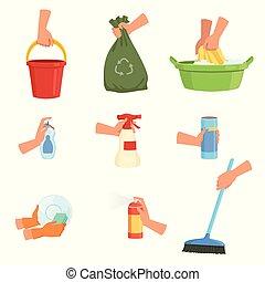 plat, savon, ensemble, liquide, déchets, freshener, bassin, dishwashing, détergent, plastique, éponge, vecteur, conception, seau, mains humaines, brush., supplies., airbag, nettoyage