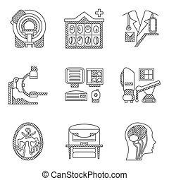 plat, scan., icônes, vecteur, mri, ligne, ct