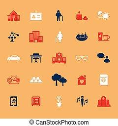 plat, schaduw, pensioneringsgemeenschap, iconen