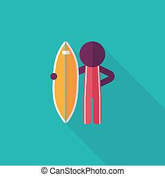 plat, schaduw, surfing, lang, pictogram