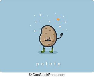 plat, schattig, voedingsmiddelen, aardappel, karakter, vector, pictogram, spotprent