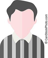 plat, scheidsrechter, -, avatar, pictogram