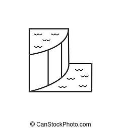 plat, schets, dam, illustratie, vector, ontwerp, pictogram