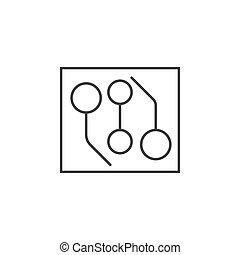 plat, schets, illustratie, vector, ontwerp, circuit, pictogram