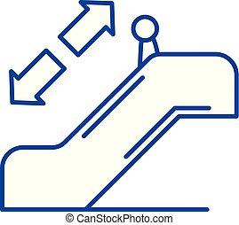 plat, schets, meldingsbord, concept., symbool, vector, roltrap, lijn, pictogram, illustration.