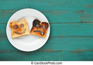 plat, schijfen, twee, leggen, aanzicht, geroosterde, brood
