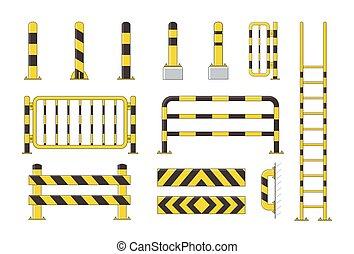 plat, schildwacht, set, zuil, verzameling, gele, conducteur, vector, black , illustratie, bollard, post, pictogram