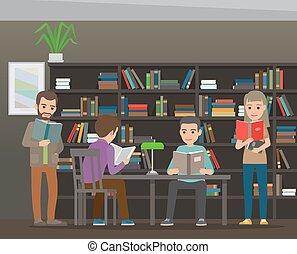 plat, scholieren, schoolboek, vector, bibliotheek, lezende