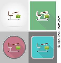 plat, school, iconen, illustratie, vector, bureau