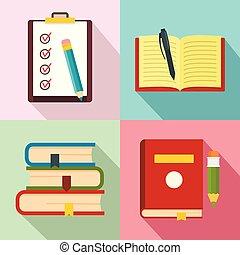 plat, school, iconen, set, studeren, stijl, huiswerk