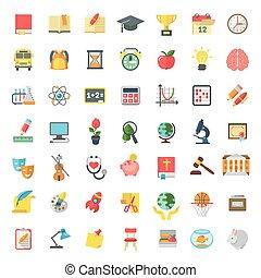 plat, school, kleurrijke, iconen, vrijstaand, onderwerpen, witte