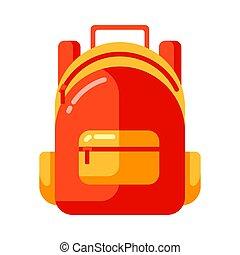 plat, school, schooltas, style., rood, pictogram