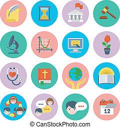 plat, school, set, iconen
