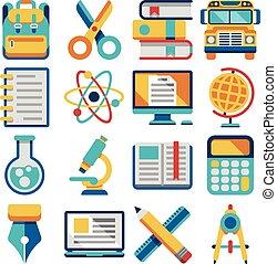 plat, school, vector, opleiding, iconen