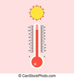 plat, schub, illustratie, vector, ontwerp, thermometer