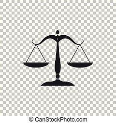 plat, schub, versieren, pictogram, schalen, justitie, teken., vrijstaand, illustratie, symbool., achtergrond., vector, evenwicht, transparant, wet, design.