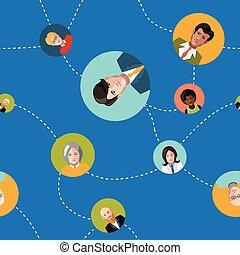 plat, seamles, modèle, communiquer, gens