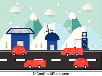 plat, season., hiver, voiture, scène, maison, ambiant, montagne, route