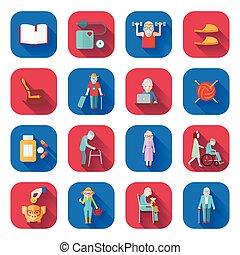 plat, seniore levensstijl, iconen