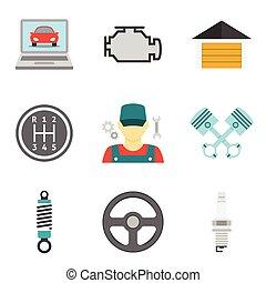 plat, service, icônes, vol, auto, 2